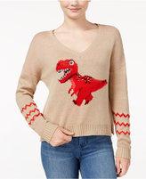 Almost Famous Juniors' Sequin T-Rex Graphic Sweater