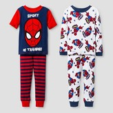 Spiderman Toddler Boys' Snug Fit 4-Piece Cotton Pajama Set - Red