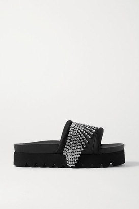 Area Crystal-embellished Satin-trimmed Rubber Platform Slides - Black