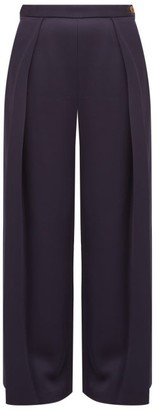 Maison Rabih Kayrouz High-rise Sateen Wide-leg Trousers - Navy