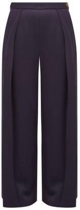 Maison Rabih Kayrouz High-rise Sateen Wide-leg Trousers - Womens - Navy