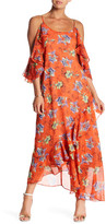 Adelyn Rae Printed Frill Midi Dress