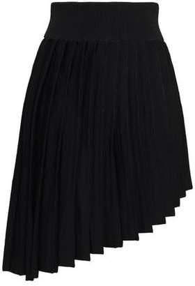 Balmain Asymmetric Pleated Ponte Mini Skirt