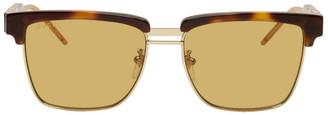 Gucci Tortoiseshell and Gold Square Sunglasses