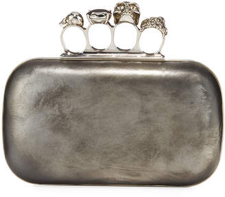 Alexander McQueen Antiqued 4-Ring Knuckle Clutch Bag