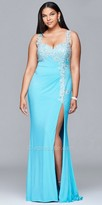 Faviana Embroidered Jersey High Slit Plus Size Prom Dress