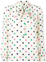 Saint Laurent polka dot lavaliere blouse - women - Silk - 38