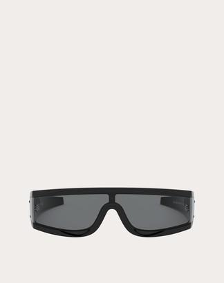 Valentino Vltn Wrap Shield Acetate Sunglasses Man Black Acetate OneSize