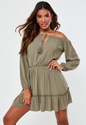 Missguided Khaki Bardot Tassel Mini Dress