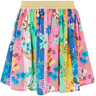 Monsoon Girls S.E.W. Stripe Floral Skirt - Multi