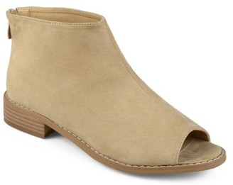 Brinley Co. Womens Faux Suede Open Toe Booties