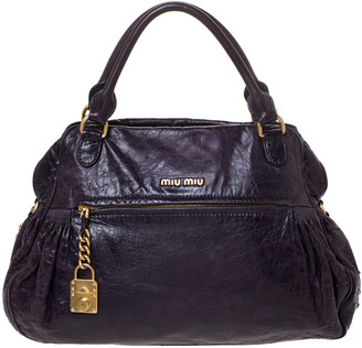 Miu Miu Dark Plum Leather Lily Distressed Satchel