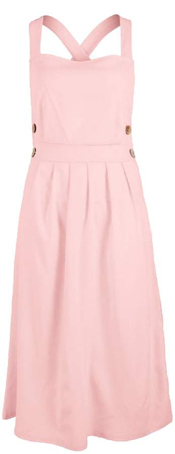 Goodnight Macaroon 'Ukra' Cross Back Side Button Midi Dress (4 Colors)