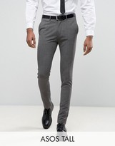 Asos Tall Super Skinny Suit Trousers In Salt & Pepper