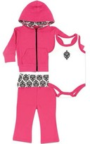 Yoga Sprout Baby Girl Hoodie, Bodysuit and Pant