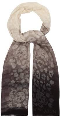 Alexander McQueen Skull Print Silk Blend Ombre Scarf - Womens - Ivory
