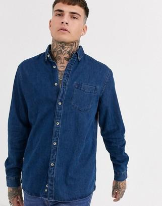 Celio denim shirt in mid wash-Blue