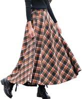 Femirah Women's Plaid Woolen Skirt Long Maxi Winter Skirt
