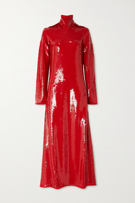 Bottega Veneta Cutout Sequined Jersey Turtleneck Gown - Red
