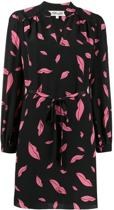 Diane von Furstenberg Falling Lips tie-waist dress