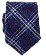 Black Navy and Red Check Italian Wool Tie