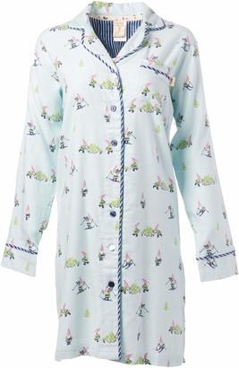 Munki Munki Women's Classic Notch Collar Flannel Nightshirt