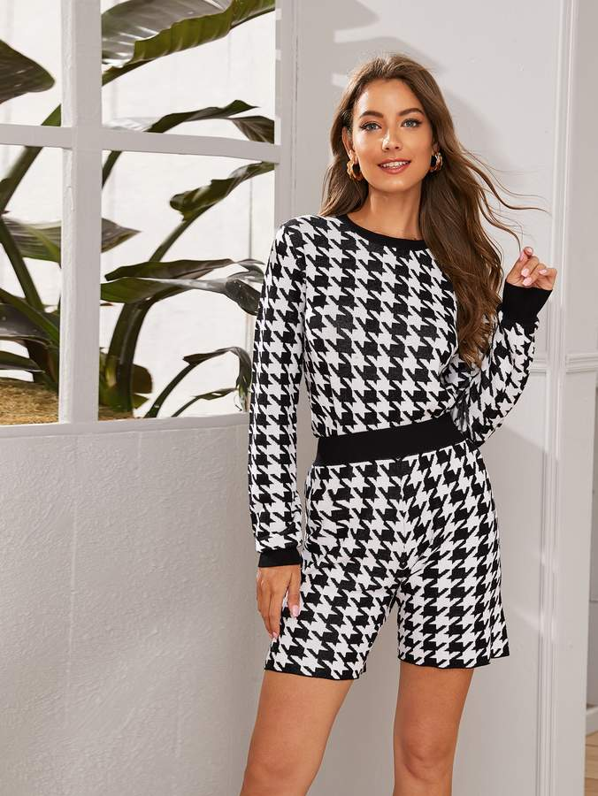 Shein Houndstooth Print Sweater Top & Shorts Set