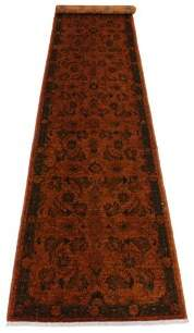 """Melania Astoria Grand One-of-a-Kind Overdyed Reform Hand-Knotted Runner 2'5"""" x 11'7"""" Wool Orange/Green Area Rug Astoria Grand"""