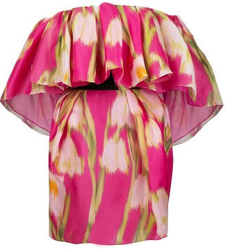 Carolina Herrera Floral Print Silk Mini Dress