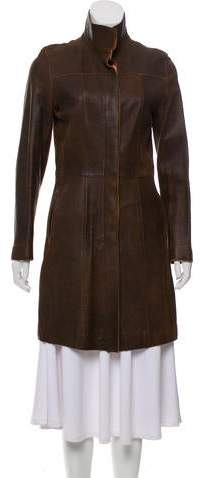Andrew Marc Leather Knee-Length Coat