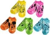 Disney Big Girls' 5 Pack Mickey Tie Dye No Show