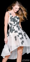 Jovani High Low Embroidered Floral Net Homecoming Dress