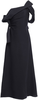 Victoria Beckham One-shoulder Pleated Wool Midi Dress