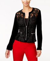 INC International Concepts Velvet-Sleeve Lace Peplum Jacket, Only at Macy's