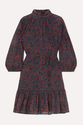 Apiece Apart Victoria Floral-print Cotton-gauze Mini Dress - Burgundy