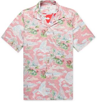Hartford Slim-fit Camp-collar Printed Cotton-chambray Shirt - Red