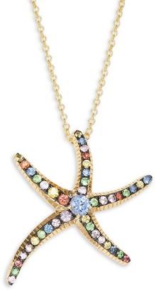 Effy 14K Yellow Gold & Multicolored Sapphire Starfish Pendant Necklace