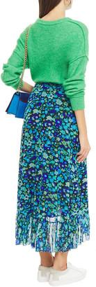 Ganni Ruffled Printed Stretch-mesh Midi Wrap Skirt
