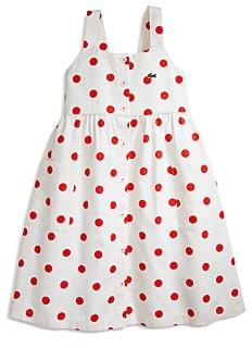 Lacoste Girls' Cotton Dot Print Dress - Little Kid, Big Kid