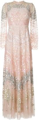 Needle & Thread Empire Line Sequin-Embellished Dress