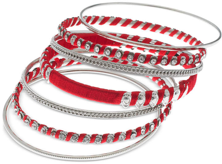 ad0befee93493 Silver-Tone 7-Pc. Set Crystal & Thread-Wrapped Bangle Bracelets
