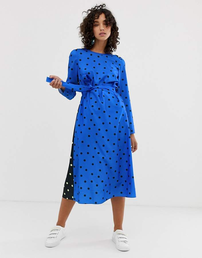 Asos long sleeve midi dress in polka dot