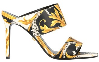 Versace Barocco print calf leather heeled sandals