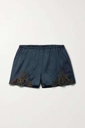 I.D. Sarrieri Hotel Particulier Chantilly Lace-trimmed Silk-blend Satin Pajama Shorts - Midnight blue