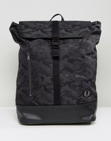Fred Perry Camo Backpack In Black