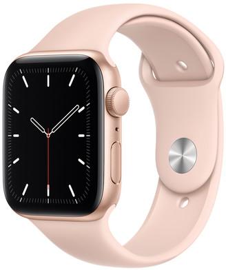 Apple Watch SE GPS, 44mm Gold Aluminum Case with Pink Sand Sport Band - Regular