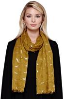 Yumi Gold Feather Print Scarf Yellow