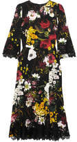 Dolce & Gabbana Lace-trimmed Floral-print Silk-blend Midi Dress - Black