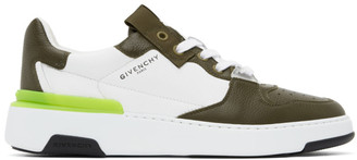 Givenchy White and Khaki Wing Sneakers