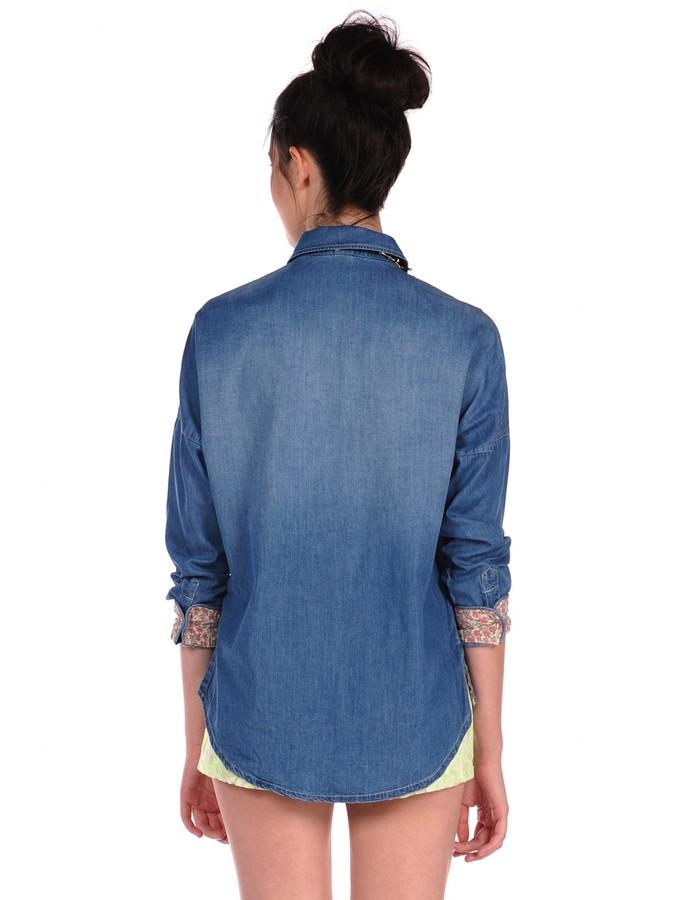 Romeo & Juliet Couture Fade Pocket Denim Shirt